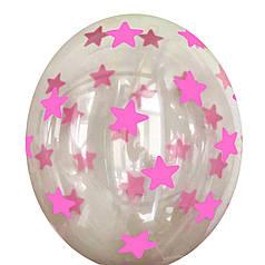 """0531 Шар 12"""" (30 см) Розовые звезды на черном кристалле (BelBal)"""