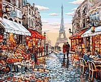 """Акриловая картина по номерам на холсте городской пейзаж """"Цветочный магазин Парижа"""" 40х50, 5 уровень сложности"""