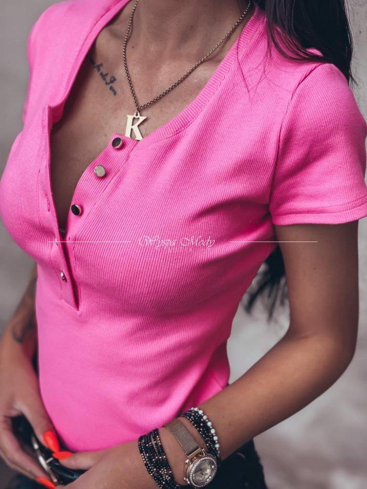 Женская футболка, турецкий трикотаж рубчик, р-р 42-44; 44-46 (розовый неон)