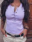 Женская футболка, турецкий трикотаж рубчик, р-р 42-44; 44-46 (фиалковый), фото 2