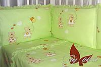 Детский комплект с простынью на резинке Мишки-малышки зелен., фото 1