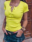 Женская футболка, турецкий трикотаж рубчик, р-р 42-44; 44-46 (лимонный), фото 2