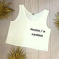 Жіночий кроп топ з принтом Houston i'm a problem