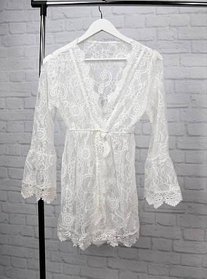 Пляжний халат гіпюровий білий з довгими рукавами, фото 2