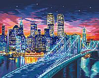 """Акриловая картина по номерам на холсте городской пейзаж """"Ночной Манхэттен"""" 40х50, 5 уровень сложности"""