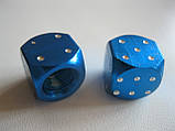 """Колпачок ниппеля """"КУБИК"""" синий,колпачки на ниппель,золотники на ниппель,Колпачки на ниппеля Кости blue,цена2шт, фото 3"""