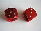 """Колпачок ниппеля """"КУБИК""""красный,колпачки на ниппель,золотники на ниппель,Колпачки на ниппеля Кости red,цена2шт, фото 3"""