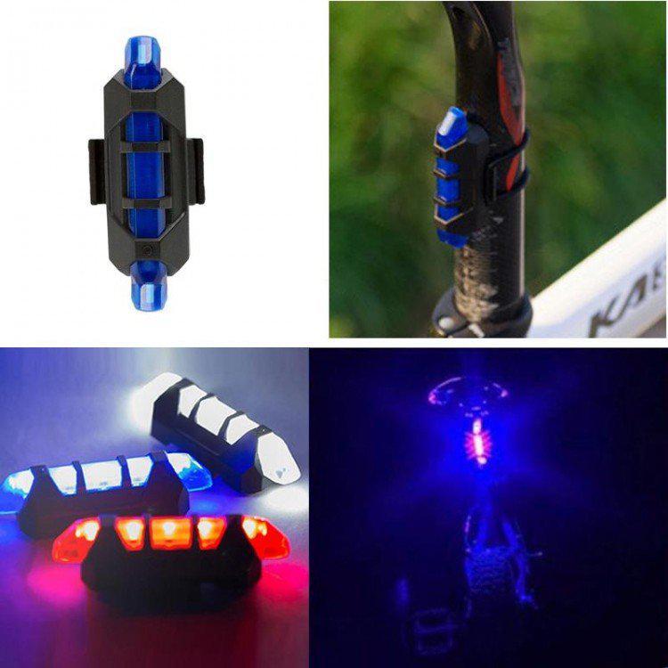 Стоп сигнал на велосипед USB фара задняя Синий