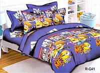 Подростковый полуторный комплект постельного белья Миньоны сити, ранфорс 100% хлопок, Украина