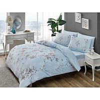 Семейный комплект постельного белья Tac Beatrice mavi v03 голубой, ранфорс, Турция