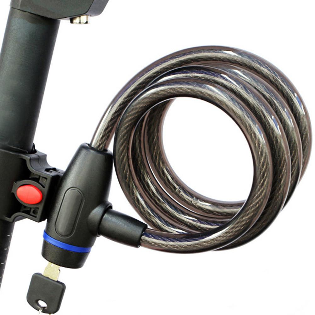 Велосипедный замок трос под ключ с креплением 12 *1200мм, трос противоугонный