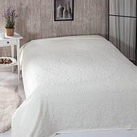 Покрывало простынь 200х220 см, велюр бамбук, молочный, ТМ Belizza, Турция
