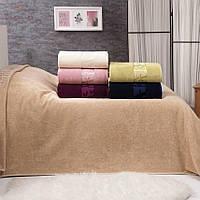 Покрывало простынь 200х220 см, велюр бамбук, песочный, ТМ Belizza, Турция