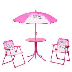 Детский садовый столик со стульчиками и зонтиком BambiUNI