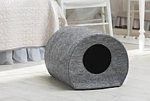Домик для животных с подушкой  Digitalwool Бочка 33 х 50 х 38 см Серый (DW-92-04)