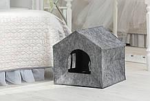 Домик для животных с подушкой  Digitalwool  Теремок 40 х 40 х 40 см Серый (DW-92-02)