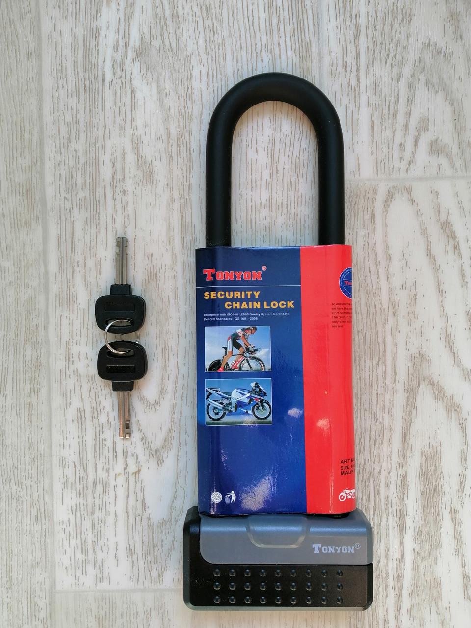 Велозамок U-подібний Tonyon TY339D, юлок, u-lock, протиугінний замок скоба