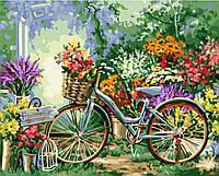 """Акриловая картина по номерам на холсте природа """"Велосипед в цветах"""" 40х50, 5 уровень сложности"""