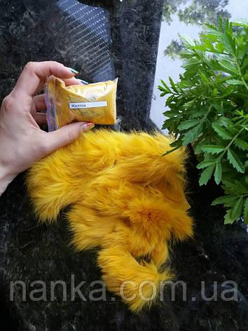 Обрезки - лоскут, кусочки натурального меха Кролик, Желток, 10 грамм, фото 2