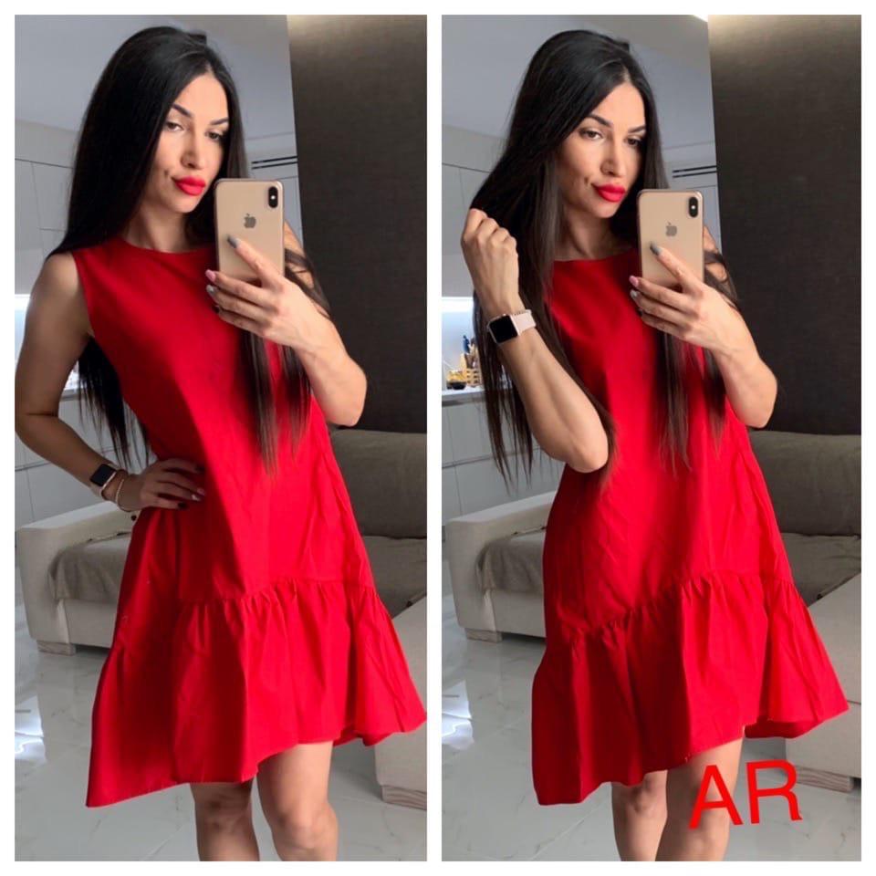 Женское летнее платье,красного цвета
