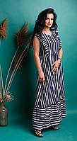 Женское длинное льняное платье в полоску