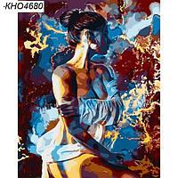"""Картини за номерами - """"Силует 2"""" з золотою фарбою (КНО4680)"""