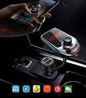 Автомобильный FM модулятор D5 ЧерныйBluetooth fm-передатчик с интерфейсом и поддержкой MP3WMA