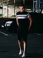 Мужской летний костюм Футболка черного цвета с белой полоской+шорты черные