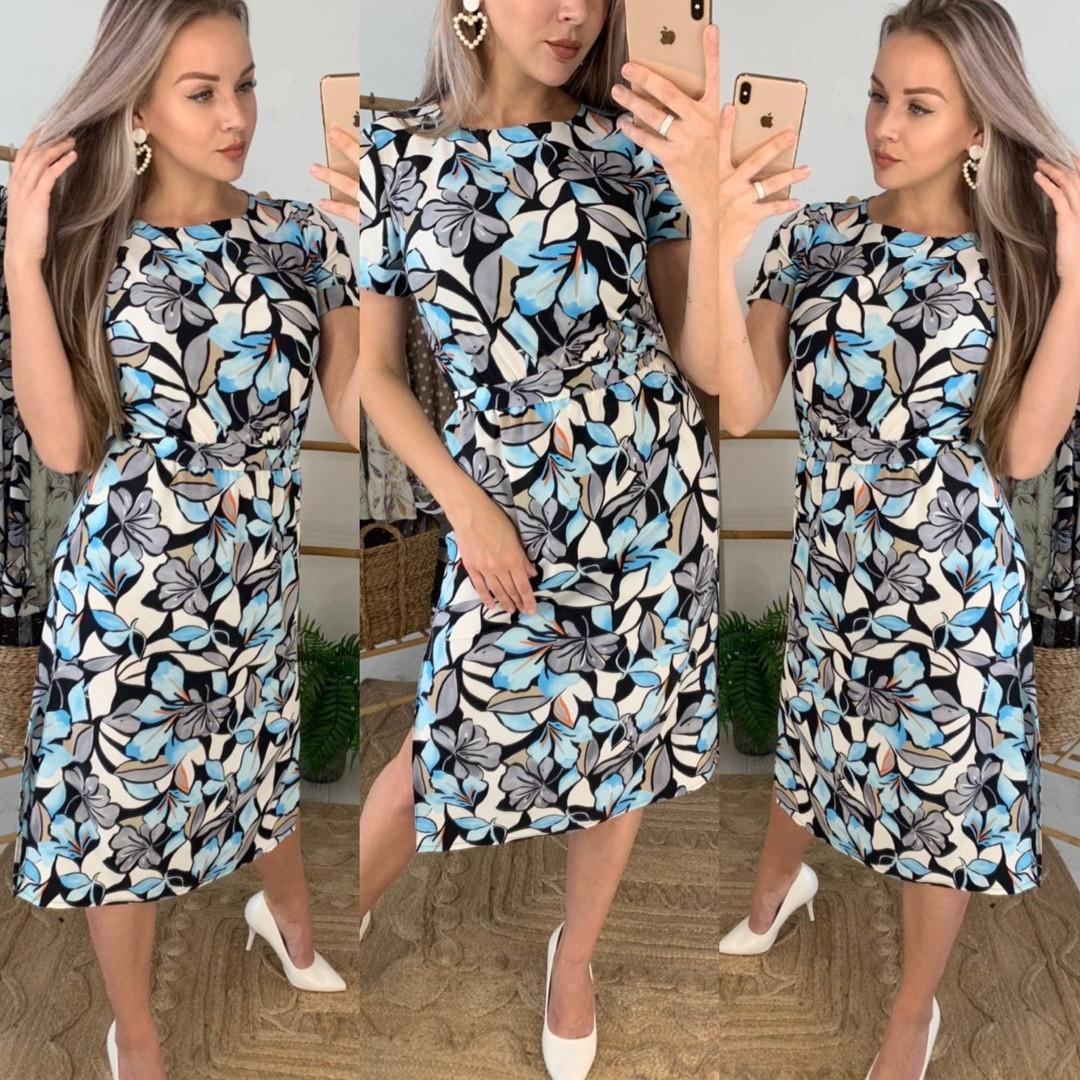 Женское летнее платье-миди с цветочным принтом