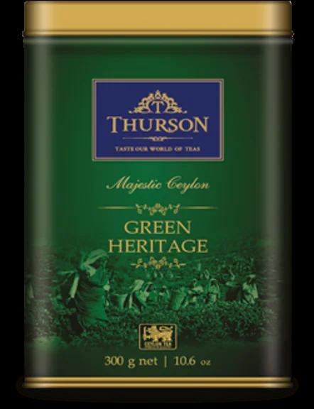 Чай зелений Thurson Green Heritage крупнолистовий ароматизований 300 г в жерстяній банці