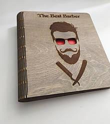 """Деревянный блокнот """"Щоденник барбера"""" (на цельной обложке с ручкой), ежедневник из дерева"""