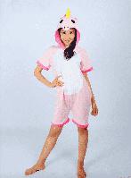 Модный летний кигуруми Единорог розовый короткий рукав