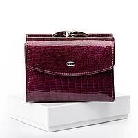 Женский кожаный кошелек маленький натуральная кожа под лаком Фиолетово-красный
