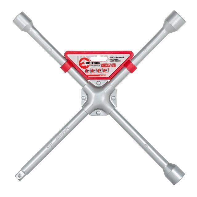 Ключ баллонный крестовой 16 x 406 мм, D=16 мм, 17; 19; 21; 1/2 профессионал INTERTOOL HT-1603