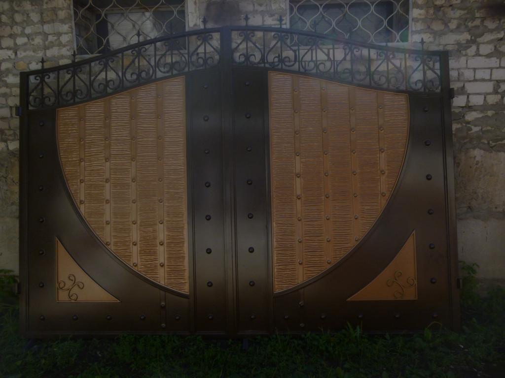 """Ворота металлические с жатым эффектом двухцветные """"Руно"""""""