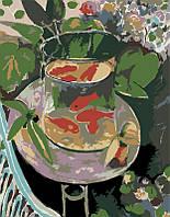 """Акриловая картина по номерам на холсте аквариум """"Красные рыбки"""" 35х45, 2 уровень сложности"""