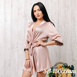 Халат женский шелковый с кружевом New Fashion SA-150cream