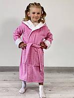 Детский махровый халат TINO BABY розовый с белым, размер