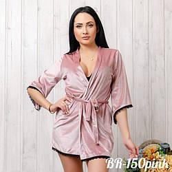 Халат бархатный женский с кружевом New Fashion BR-150pink | 1 шт.