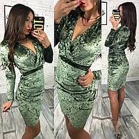 С1675  Женское шикарное платье из мраморного бархата изумрудное/ изумрудного цвета/ зеленое