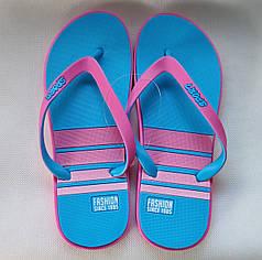 Женские сланцы шлепки вьетнамки шлепанцы пляжные голубые Plaazzo 37р 23,5см