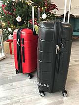 Большой пластиковый чемодан из полипропилена красный Франция, фото 3