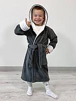 Детский махровый халат TINO BABY, серый с белым, размер