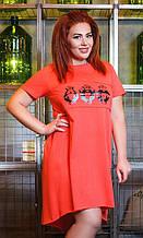 Легкое асимметричное платье с коротким рукавом