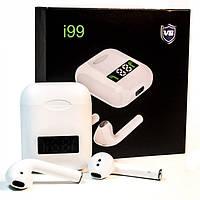 Беспроводные Bluetooth наушники гарнитура в кейсе HLV i99-v8 TWS V5,0 с дисплеем White