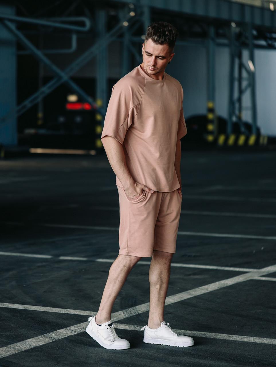 Мужской бежевый летний комплект OverSize (шорты и футболка), летний костюм оверсайз