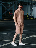 Мужской бежевый летний комплект OverSize (шорты и футболка), летний костюм оверсайз, фото 1