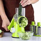 Ручная овощерезка Tabletop Drum Grater Kitchen Master. Овощерезка, фрукторезка, 3 насадки для овощей и фруктов, фото 6