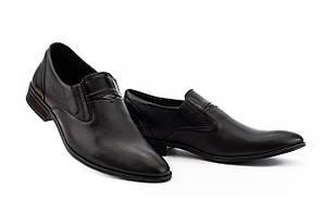 Мужские туфли кожаные весна/осень черные Slat 19451 без шнурков