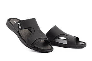 Мужские шлепанцы кожаные летние черные-серые Anser Summer 30 ч-с
